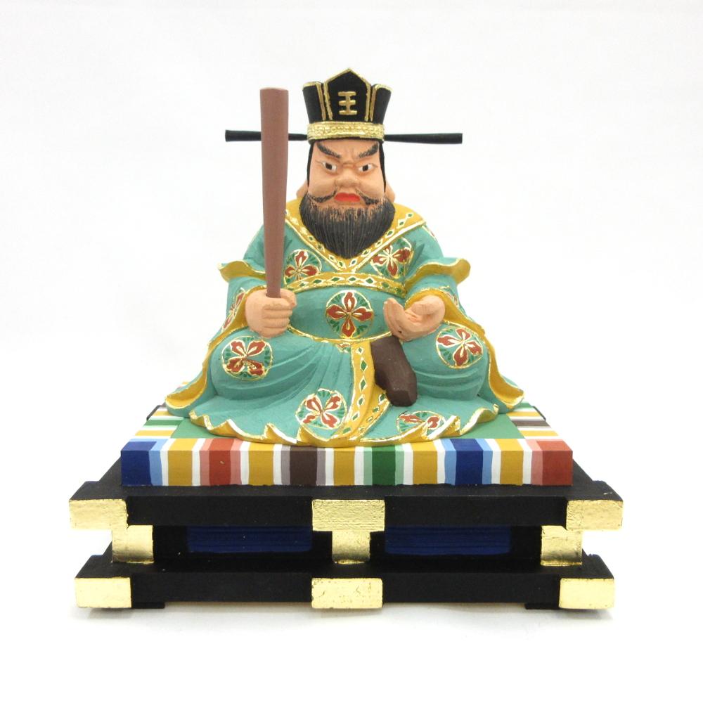 仏像 閻魔大王 座像 3.5寸 桧木彩色
