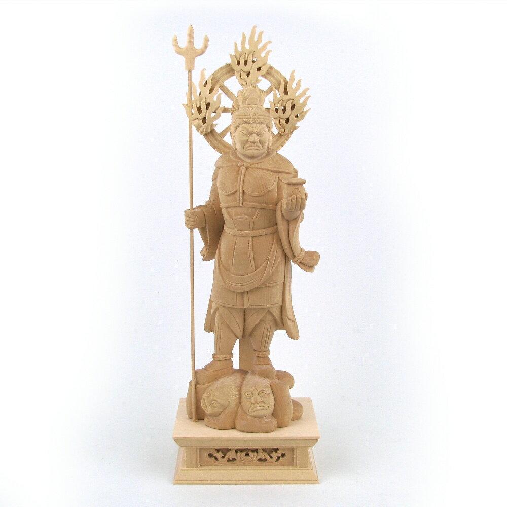 仏像 毘沙門天 立像 5.0寸 法輪光背付 桧木 多聞天 四天王