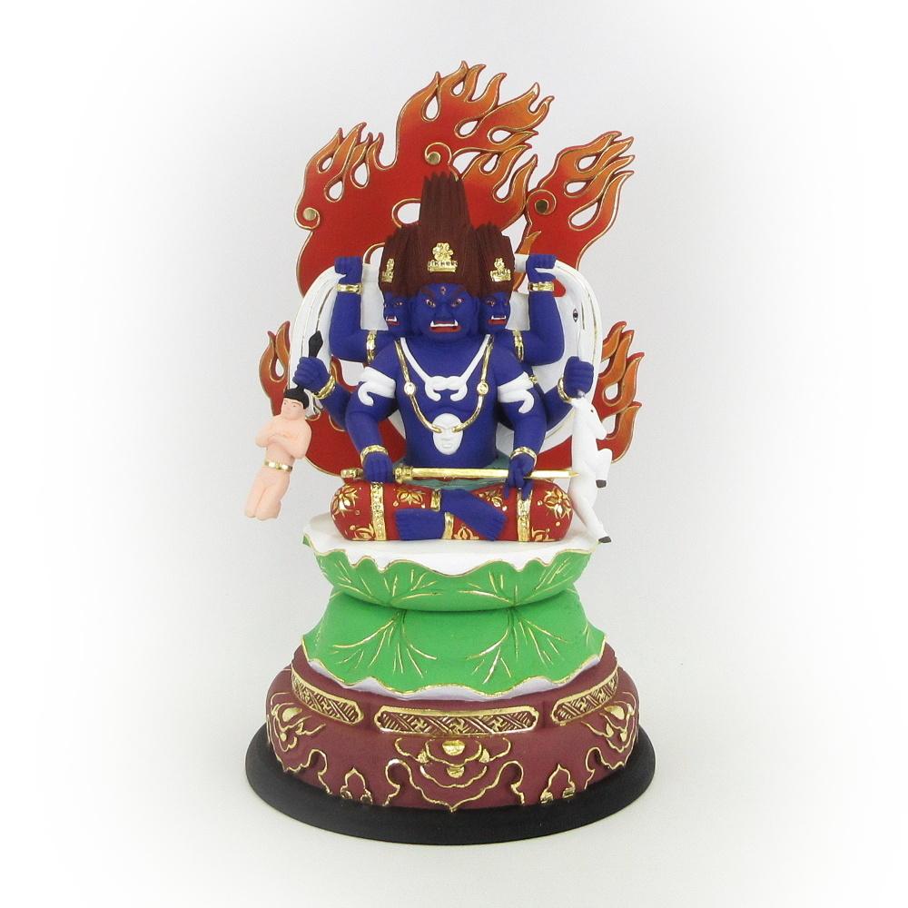 仏像 三面大黒天 忿怒形 3.5寸 桧木彩色