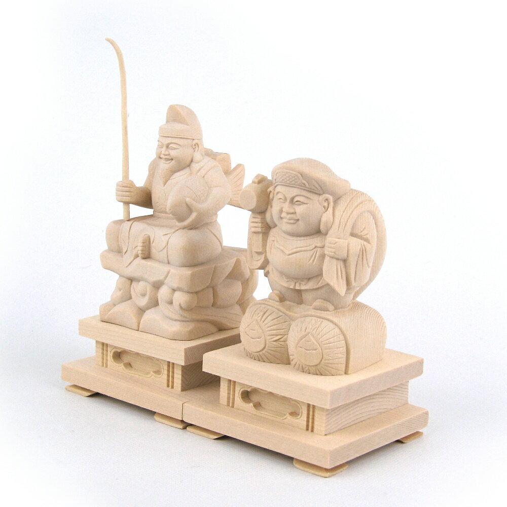 仏像 大黒天・恵比須天(恵比寿天) 総高12cm 桧木 七福神 大黒様 えべっさん 置物