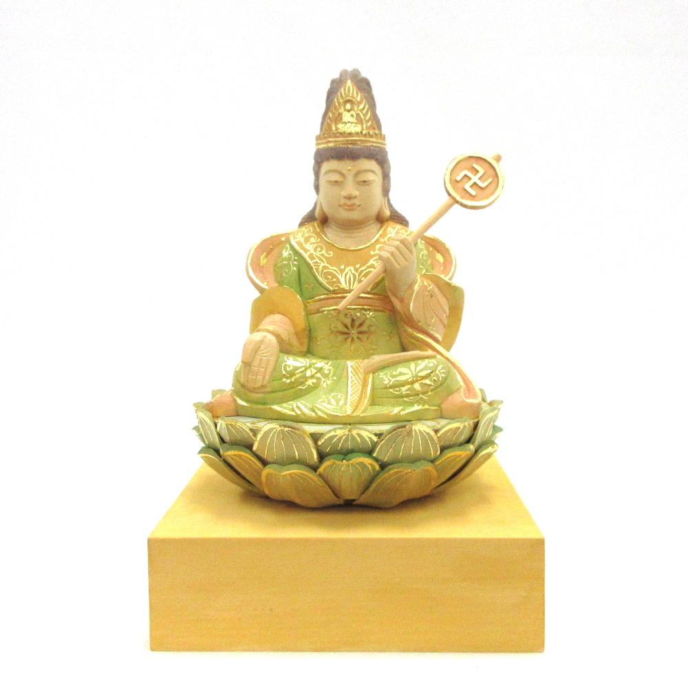 仏像 摩利支天座像 3.0寸 桧木彩色 護身 蓄財