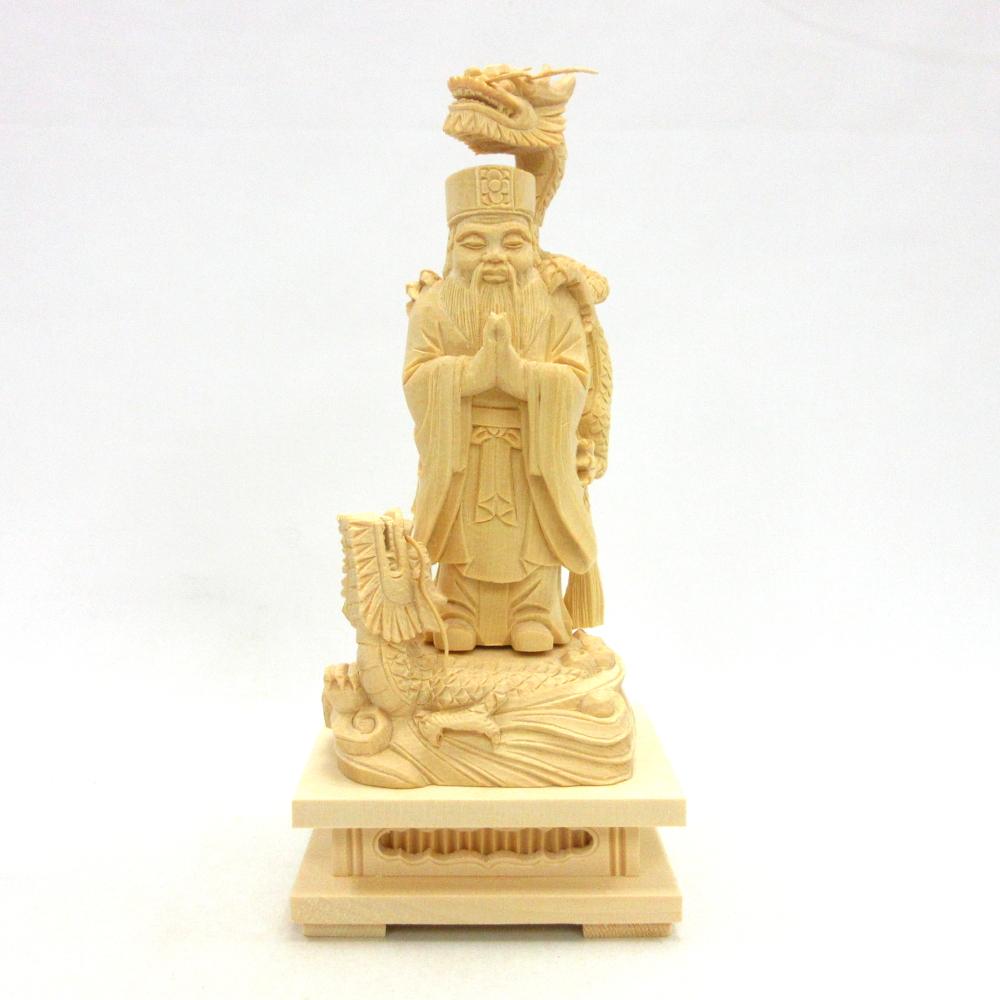 仏像 龍神 二龍付き 立像 総高24cm 桧木 龍王
