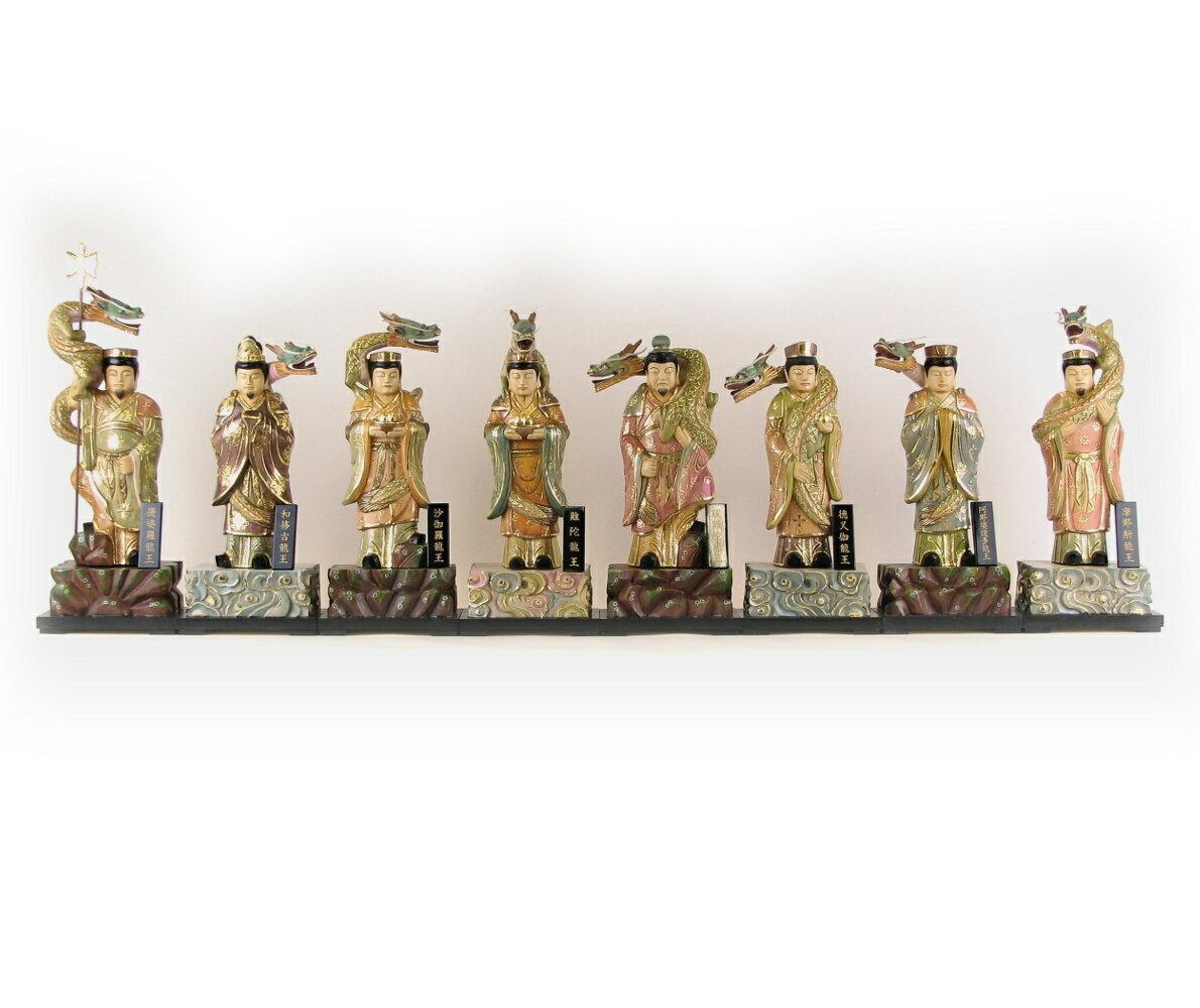 仏像 八大龍王6.0寸 八体一組 桧木彩色 ネームプレート付き