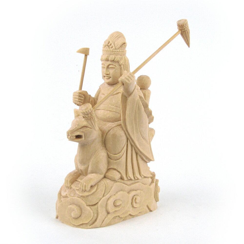 仏像 稲荷大明神 騎狐像 総高15cm 桧木 お稲荷さん お稲荷様 稲荷神