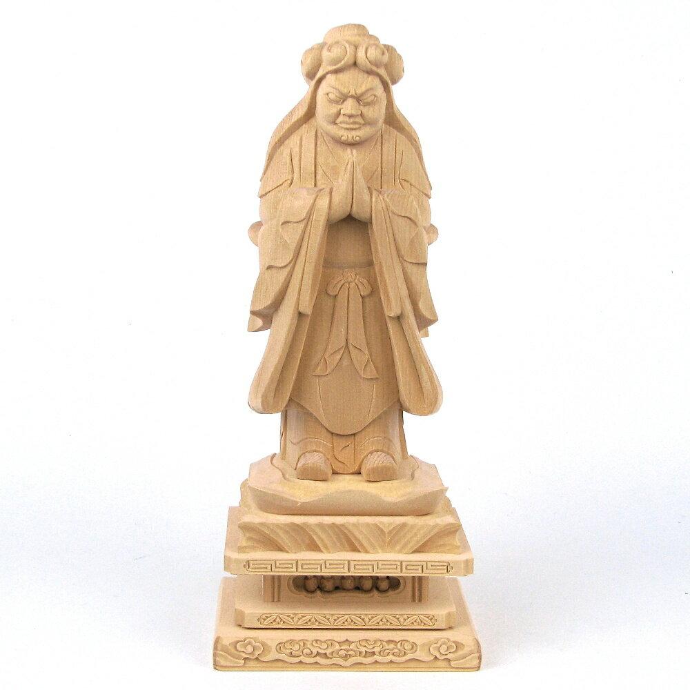 仏像 鬼子母神 鬼形像 立像 四角台 5.0寸 桧木 訶梨帝母 日蓮宗 法華経 子供 安産 守護