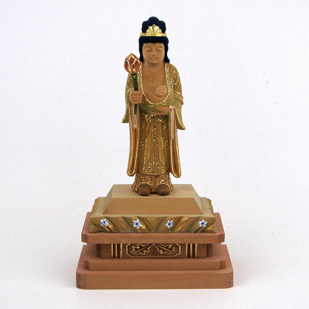 仏像 訶梨帝母 立像 身丈3.0寸 桧木彩色 鬼子母神 子供 安産 守護
