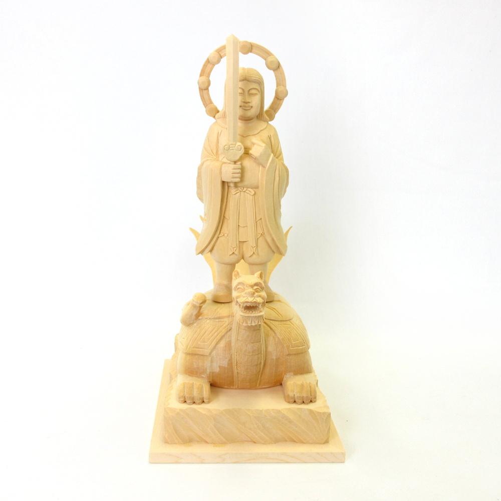 仏像 妙見菩薩 立像 乗亀像 6.0寸 桧木 北辰妙見菩薩