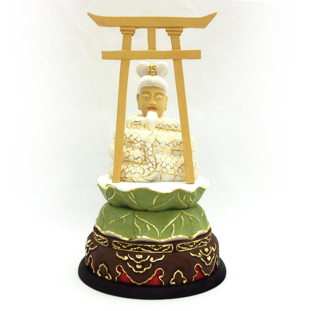 仏像 宇賀神 3.0寸 桧木彩色