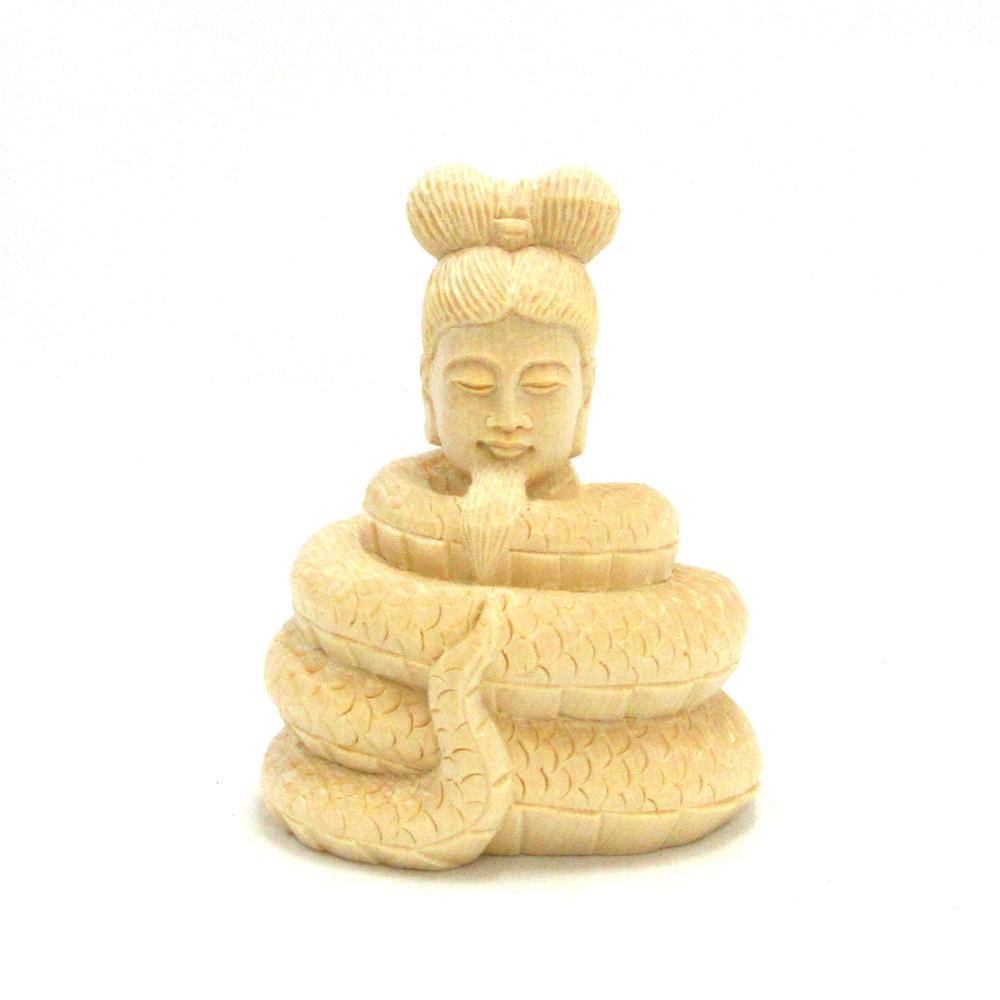 仏像 宇賀神 宇賀神像 木彫仏像 年末年始大決算 木彫り 翁像 桧木 木製 総高8cm 未使用