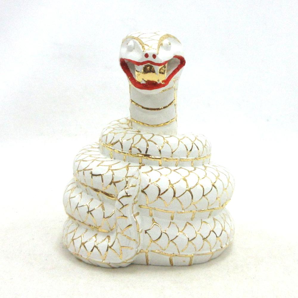 仏像 白長大明神 白蛇像 総高8cm 桧木彩色 宇賀神