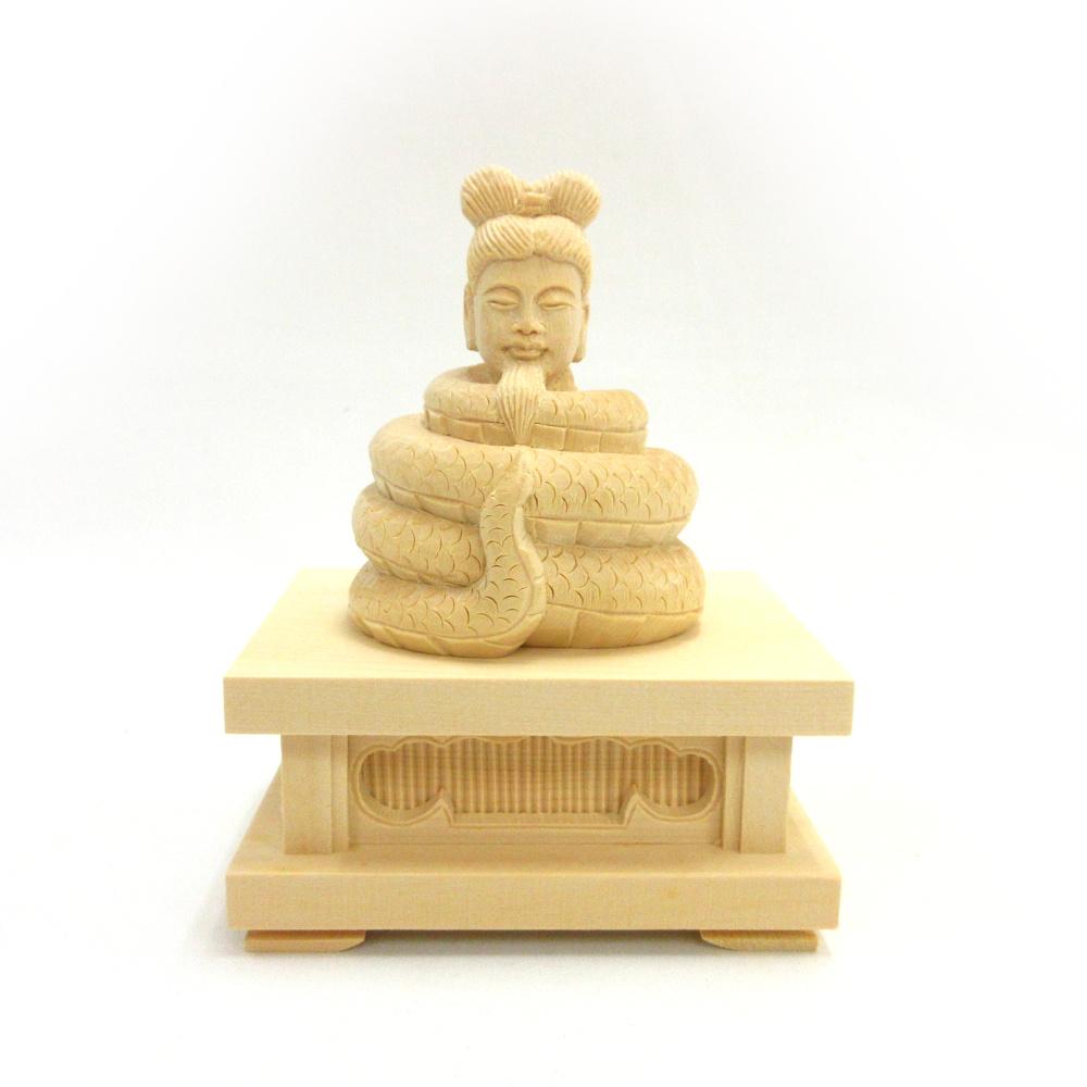 木彫仏像 木彫り 木製 仏像 宇賀神 物品 アイテム勢ぞろい 四角台座 翁像 2.0寸 桧木