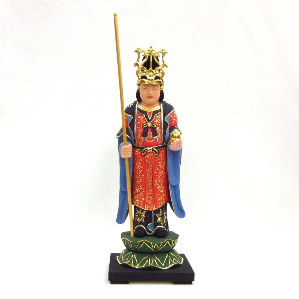 仏像 宝冠雨宝童子 立像 6.0寸 桧木彩色