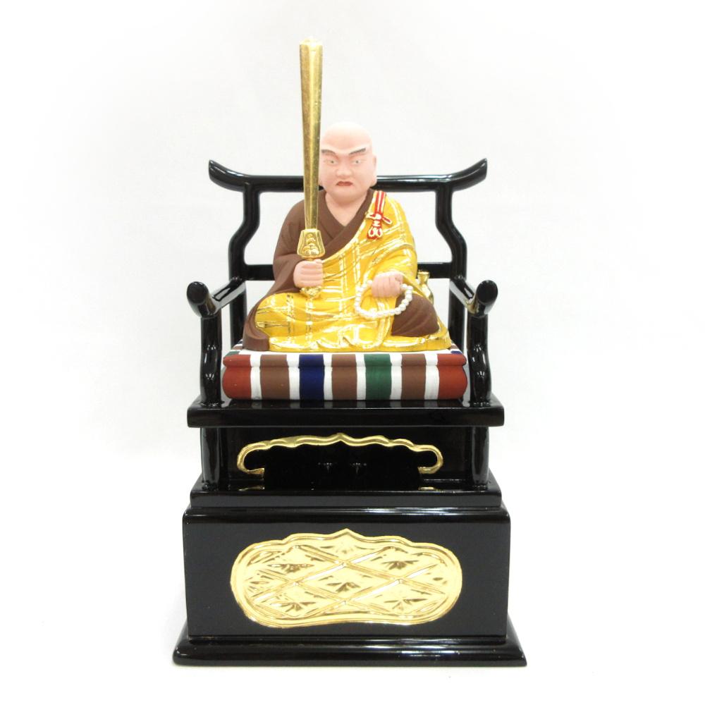 仏像 秘鍵大師 座像 2.5寸 桧木彩色 弘法大師