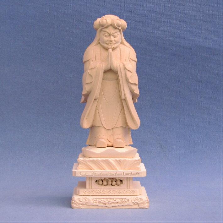 仏像 鬼子母神 鬼形像 立像 4.0寸 四角台 桧木 訶梨帝母 日蓮宗 法華経 子供 安産 守護