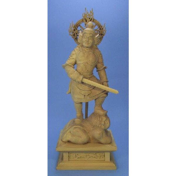 仏像 持国天 立像 6.0寸 柘植