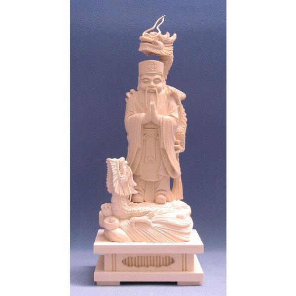 仏像 龍神(二龍付き)立像 総高24cm 桧木 檜 ヒノキ