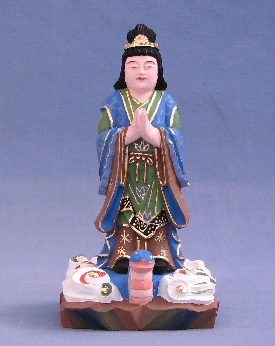仏像 宇賀姫 立像 3.0寸 桧木彩色