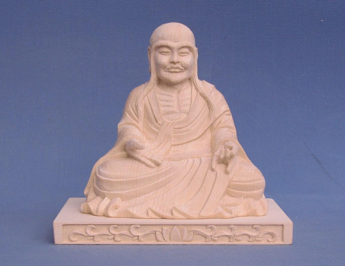 仏像 賓頭盧羅漢 なで仏 座像 3.5寸 四角台 桧木