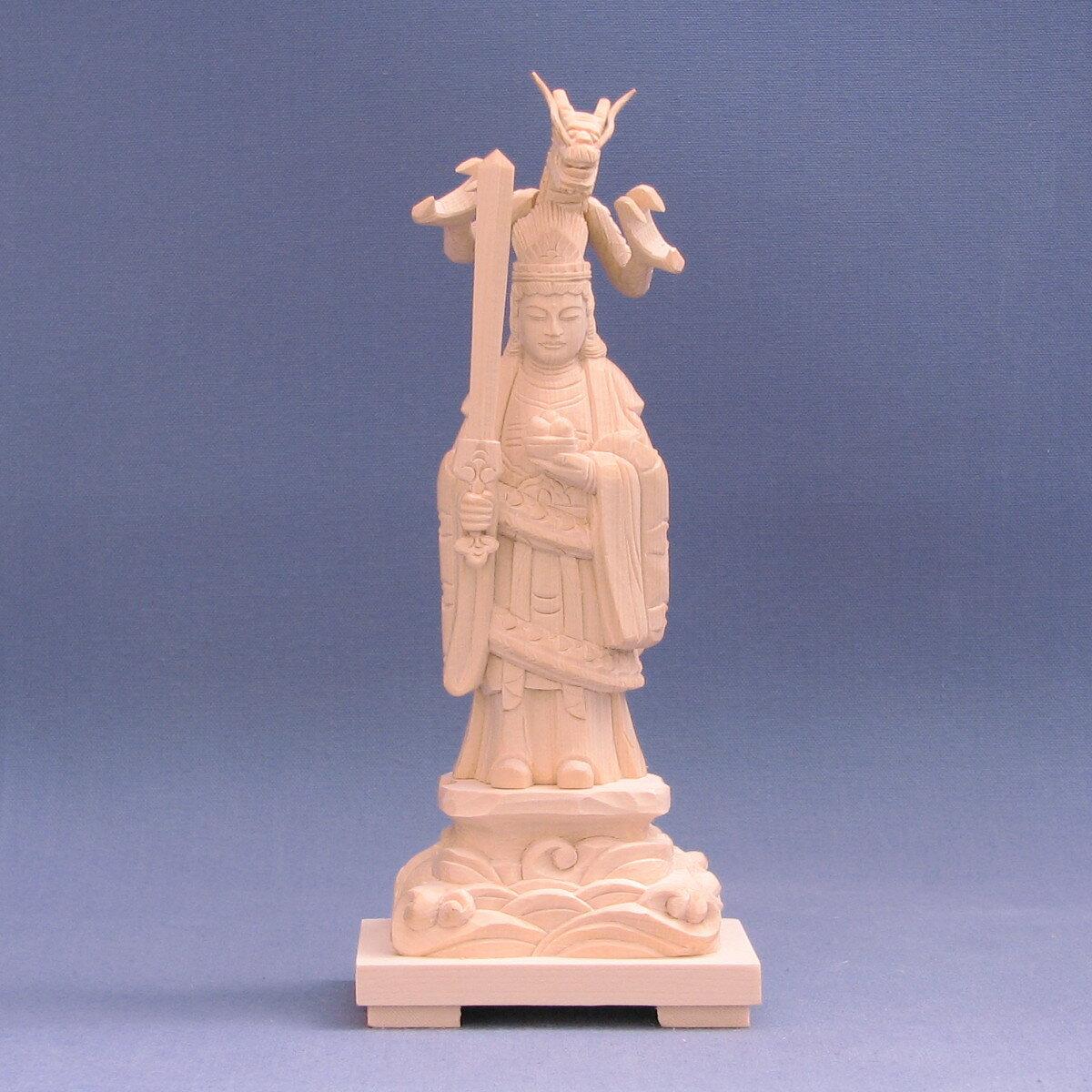 仏像 龍神(龍王)立像 総高18cm 桧木 檜 ヒノキ