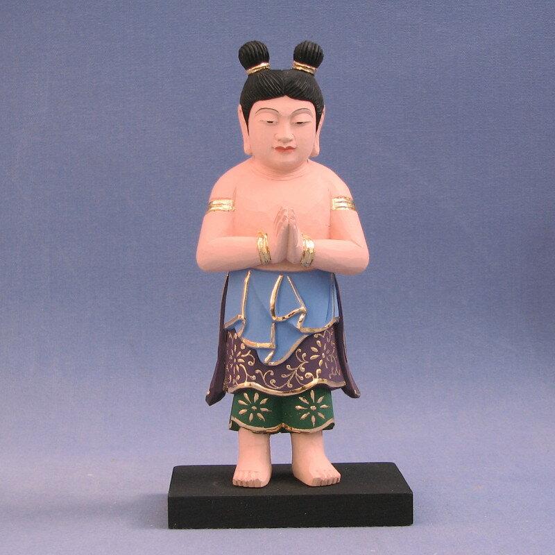 仏像 善財童子 立像 4.0寸 桧木彩色 文殊菩薩五尊