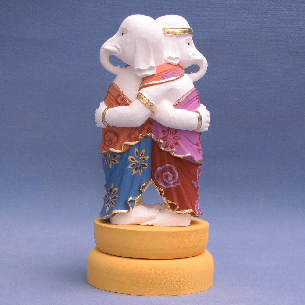 仏像 歓喜天/聖天 双身 立像 総高20cm 桧木彩色