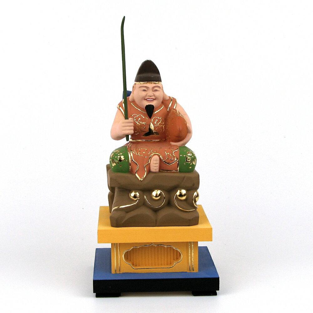 仏像 恵比須天(恵比寿天) 岩座 高さ21cm 台高6cm 桧木彩色 七福神 えべっさん 置物