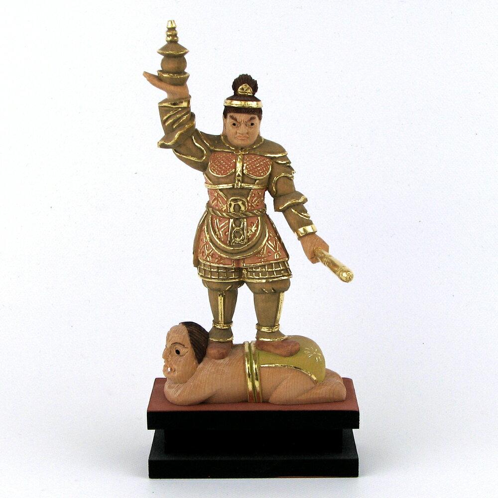 仏像 毘沙門天 立像 3.0寸 総高18cm 桧木彩色 多聞天 四天王