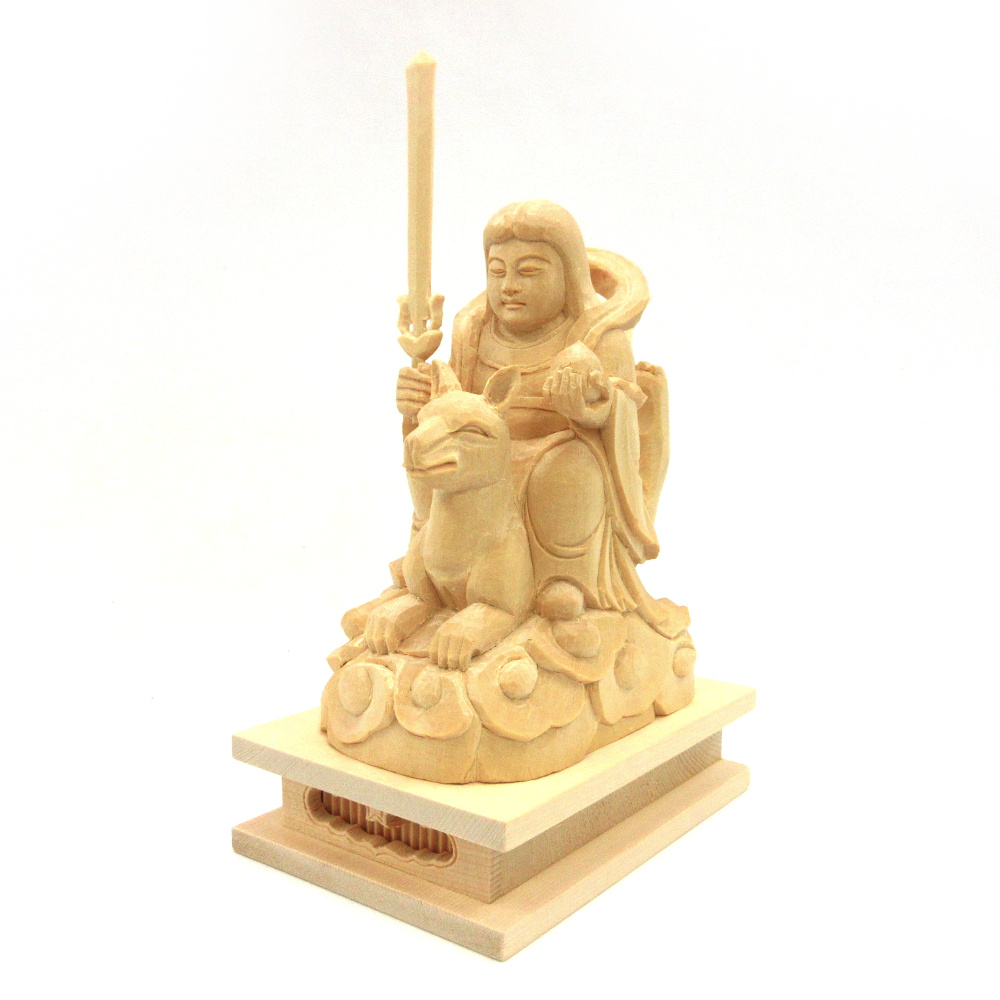 木彫仏像 木彫り 木製 仏像 荼吉尼天 荼枳尼天 高さ17cm メーカー直売 騎狐像 桧木 優先配送