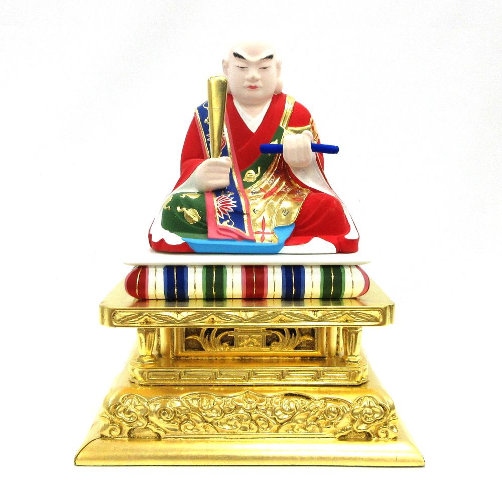 仏像 日蓮聖人 座像 3.5寸 柘植彩色 日蓮上人 日蓮宗 法華宗 日蓮大菩薩 立正大師