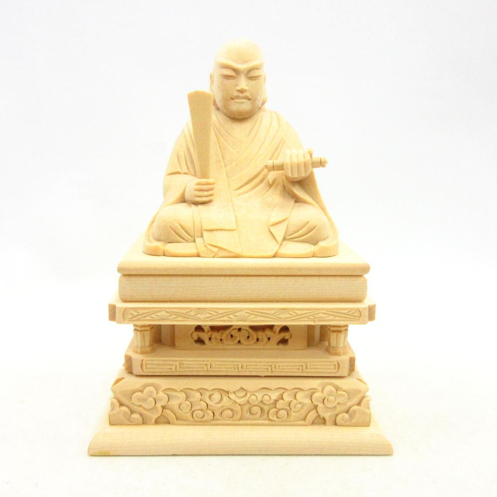 仏像 日蓮聖人 座像 1.5寸 桧木 日蓮上人 日蓮宗 法華宗 日蓮大菩薩 立正大師