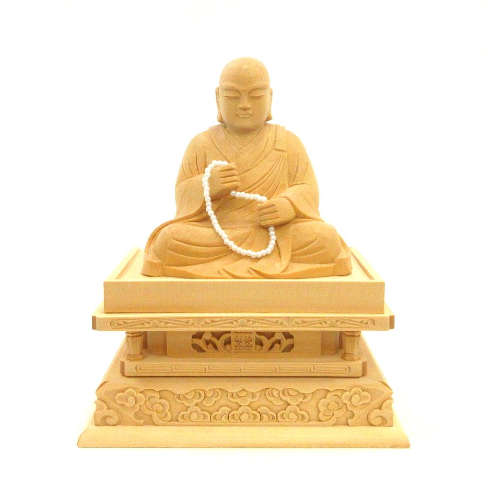 仏像 蓮如上人 座像 3.0寸 桧木 慧燈大師 浄土真宗