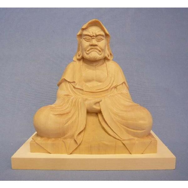 木彫仏像/達磨大師座像3.5寸総高15cmツゲ