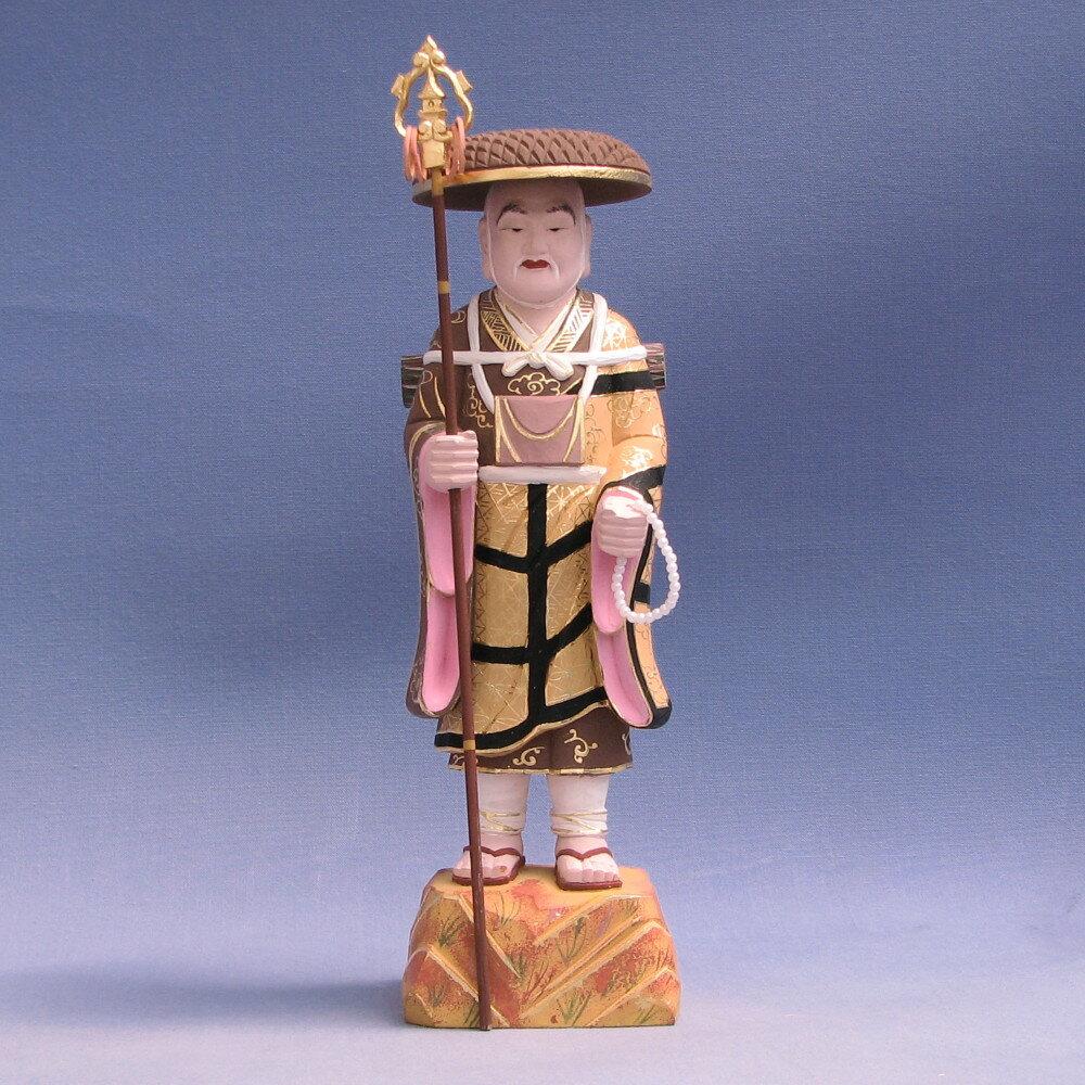 仏像 弘法大師 立像 25cm 桧木彩色