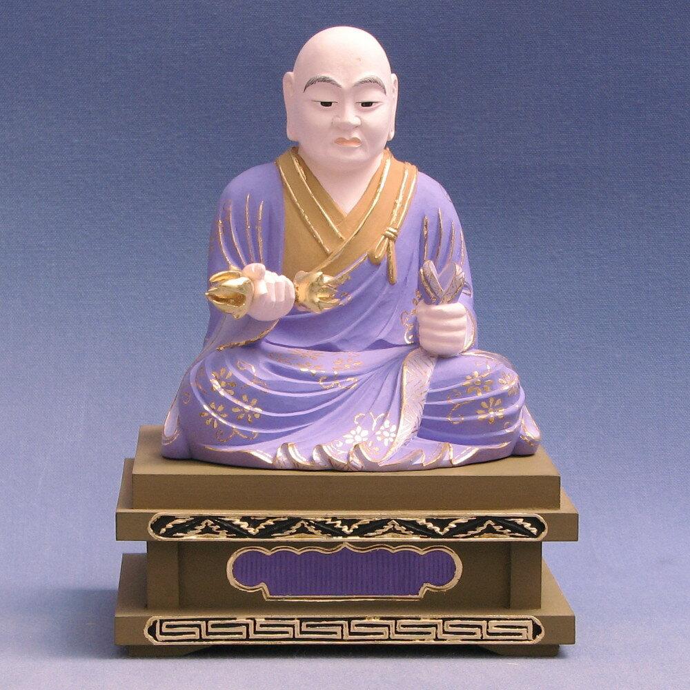仏像 理源大師 座像 3.5寸 柘植彩色