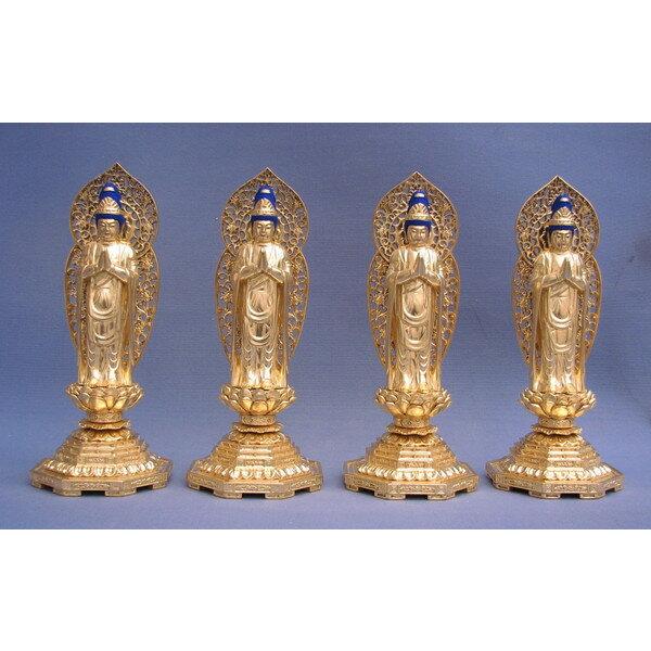 木彫仏像/四菩薩立像(四体一組)4.0寸桧木金箔, ウベシ:eba9e76c --- data.gd.no