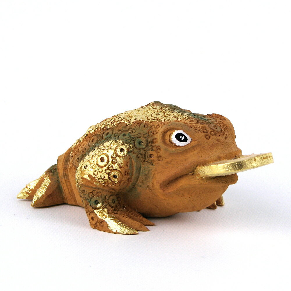 木彫 三本足蛙 桧木彩色 高さ5cm 金運 置物 風水