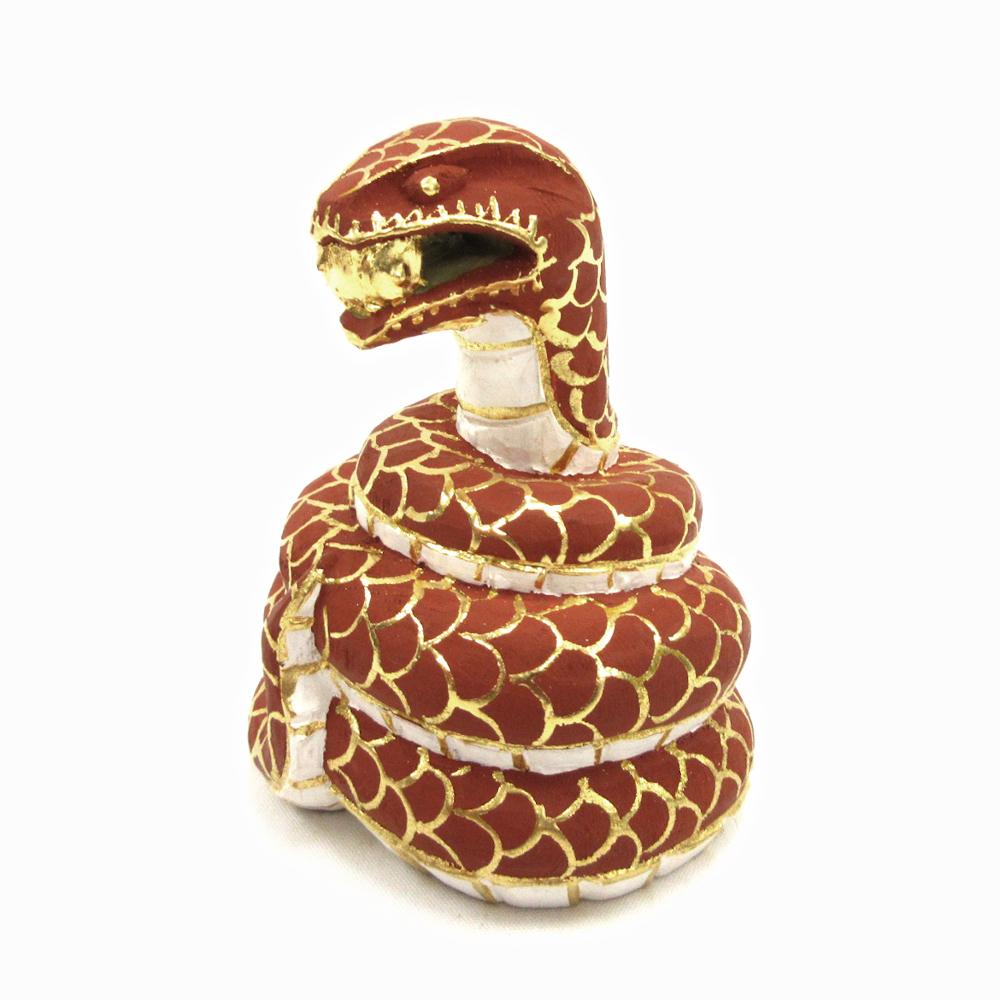 木彫仏像 木彫り 木製 仏像 桧木彩色 商店 蛇神 総高8cm ヤマカガシ 贈答