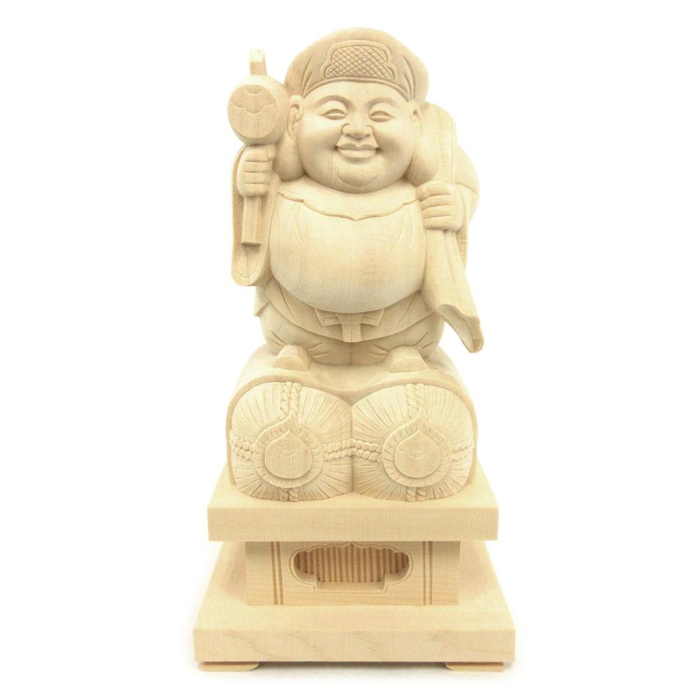 木彫仏像 公式 大黒天 七福神 新着セール 大黒様 置物 木製 仏像 桧木 台高6cm 21cm 俵座 木彫り