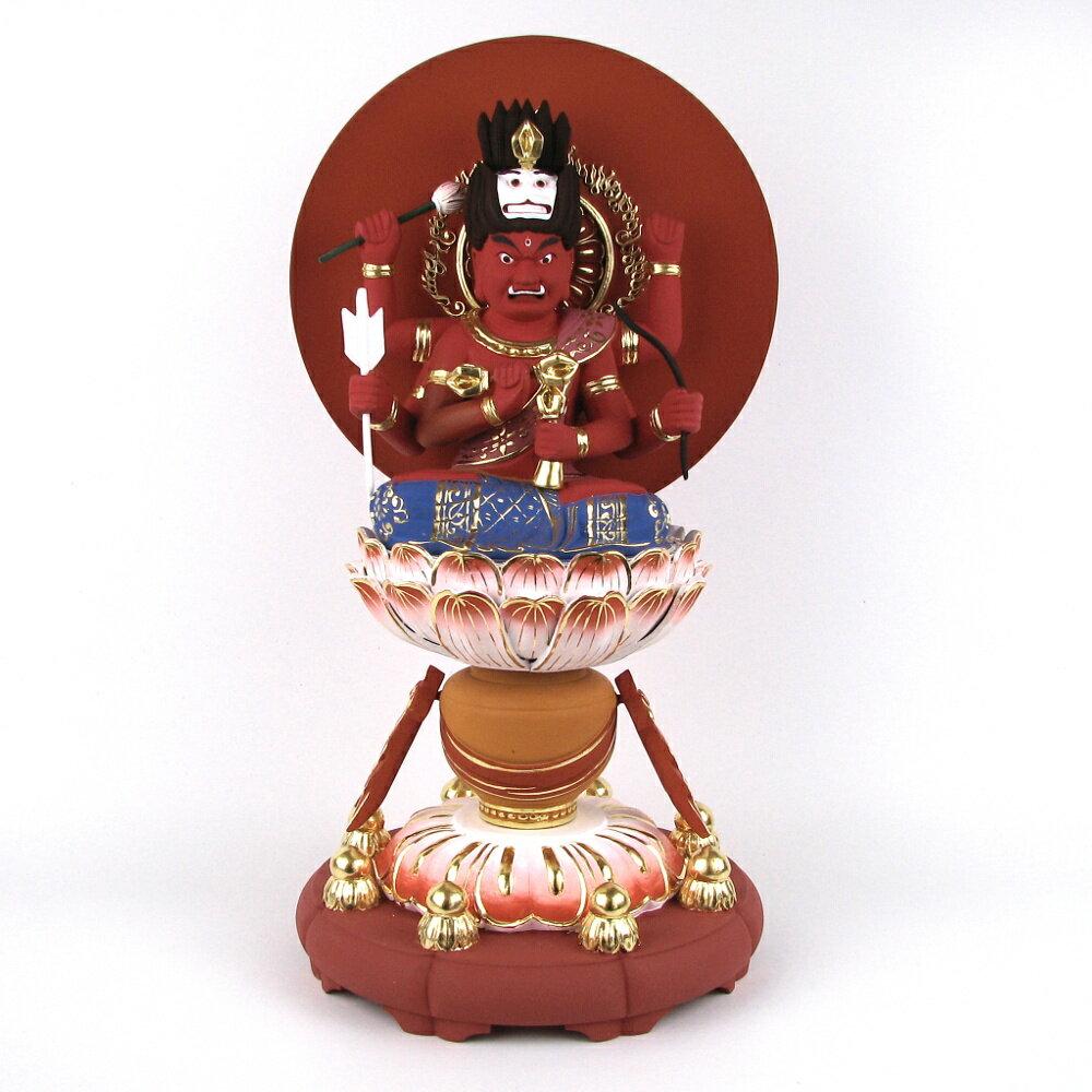 仏像 愛染明王 座像 総高40cm 桧木彩色