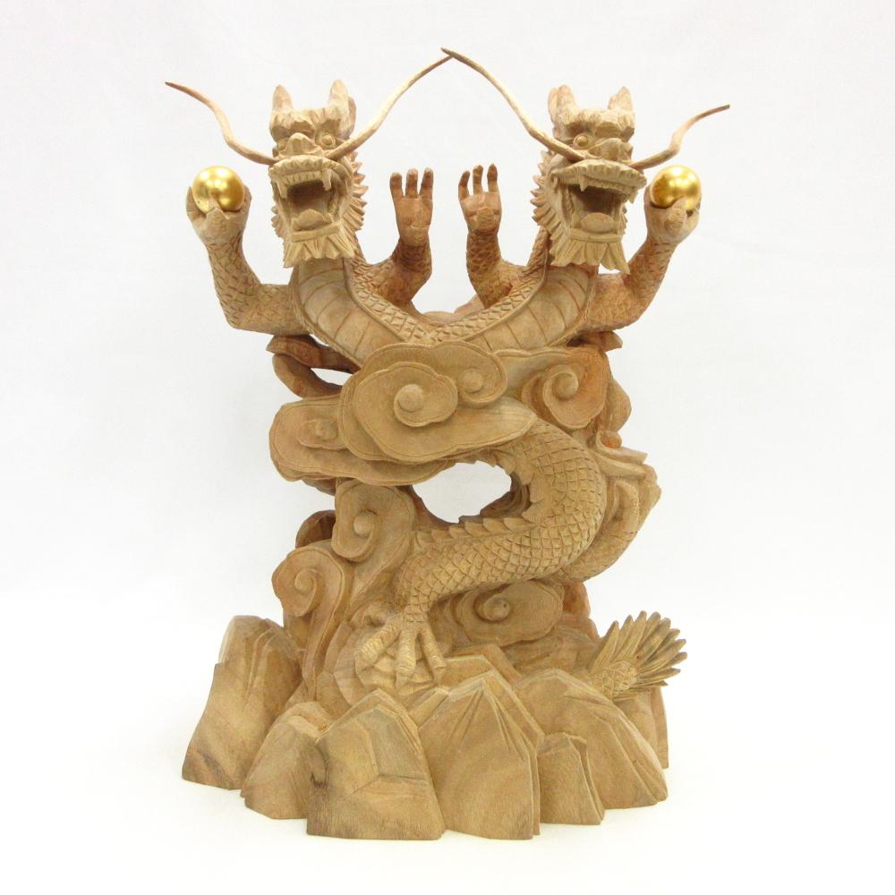 仏像 龍神 双頭一龍 50cm 樟木