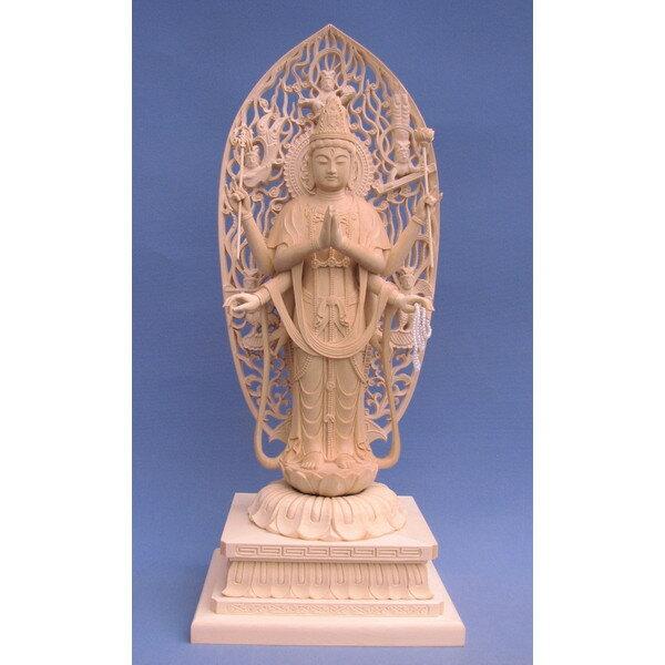 木彫仏像/不空羂索観音立像身丈9寸総高50cm桧木【受注生産】