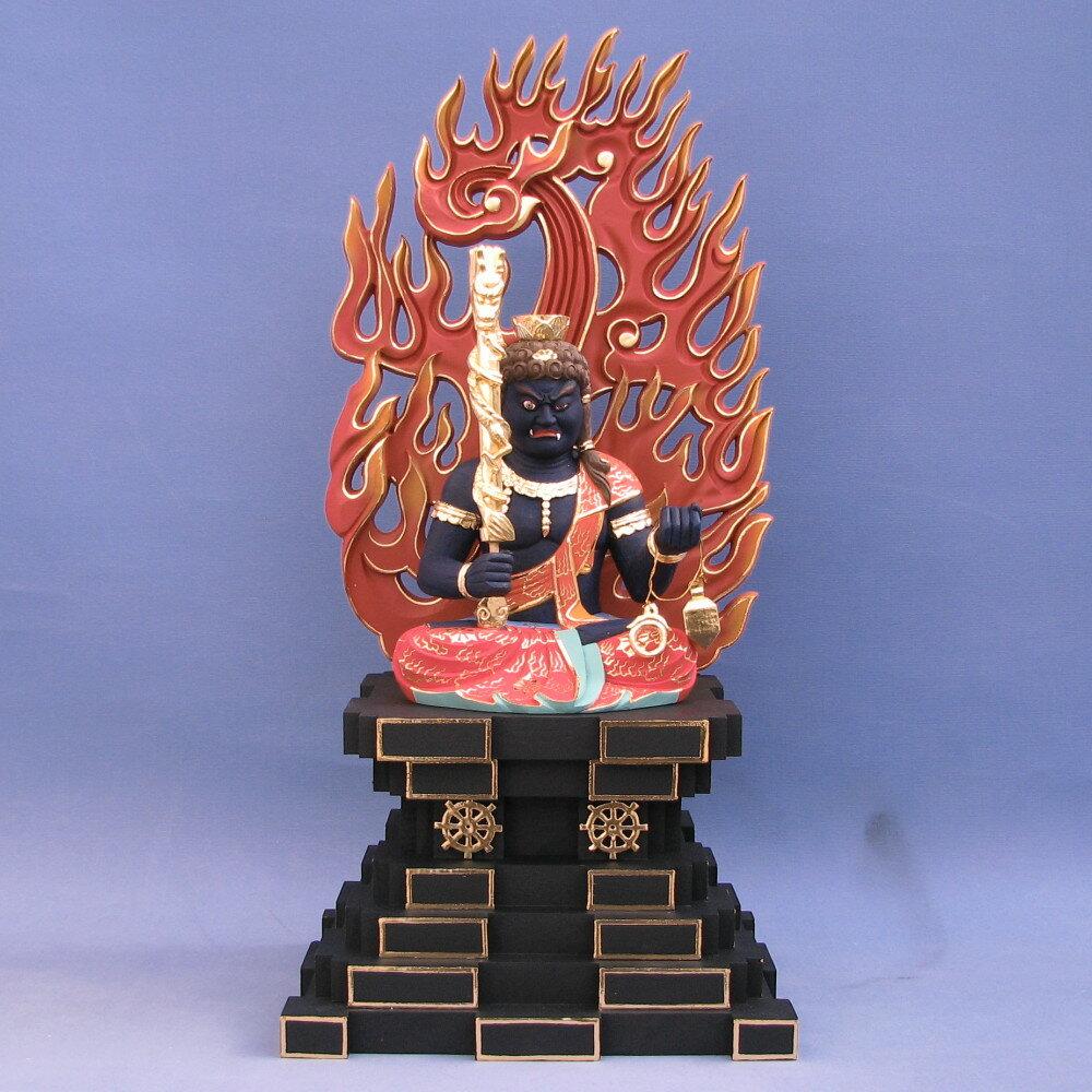仏像 不動明王 座像 倶利伽羅剣付 身丈6寸総高60cm 火炎光背 悉悉座 桧木彩色 【受注生産】
