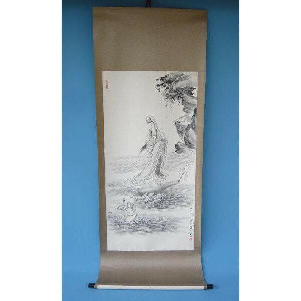 掛け軸 漂海浄瓶観音図 214×79.5cm