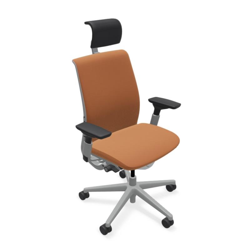 スチールケース シンク ヘッドレスト/アジャスタブルアーム 背・座:クロス 可動ランバー プラチナフレーム 465A000円PAM オフィスチェア Steelcase THINK 事務椅子 ワークチェア