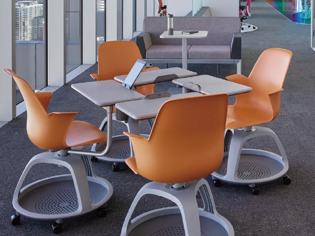 スチールケース ミーティングチェア ノード node トリポドベース サイドテーブル付き 脚元収納 3色 Steelcase K480120