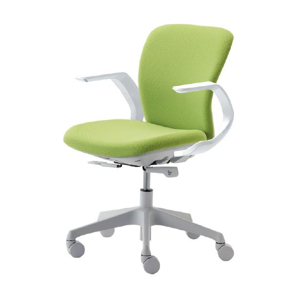 【ポイント5倍+クーポン】くろがね オフィスチェア トライフィット FT110F-WH ホワイトシェル 固定肘付き ミッドバック Tryfit 自動体重感知機能搭載 事務椅子 ワークチェア