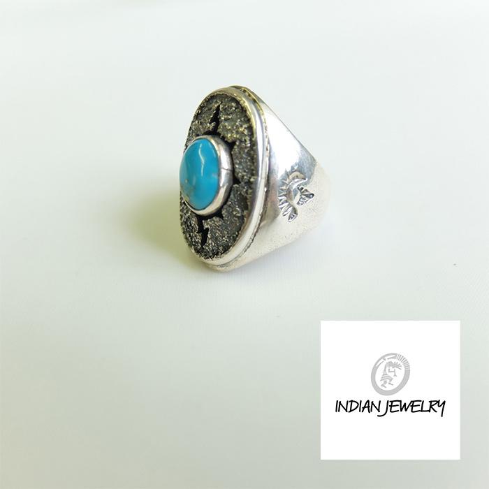 インディアンジュエリー リング 国産品 正規激安 STERLING トルコ石 楕円 指輪 INDIAN JEWELRY ターコイズ シルバーリング ネイティブ ネイティブジュエリー スタンプ ネイティブリング SILVER925 SILVER 17.5号