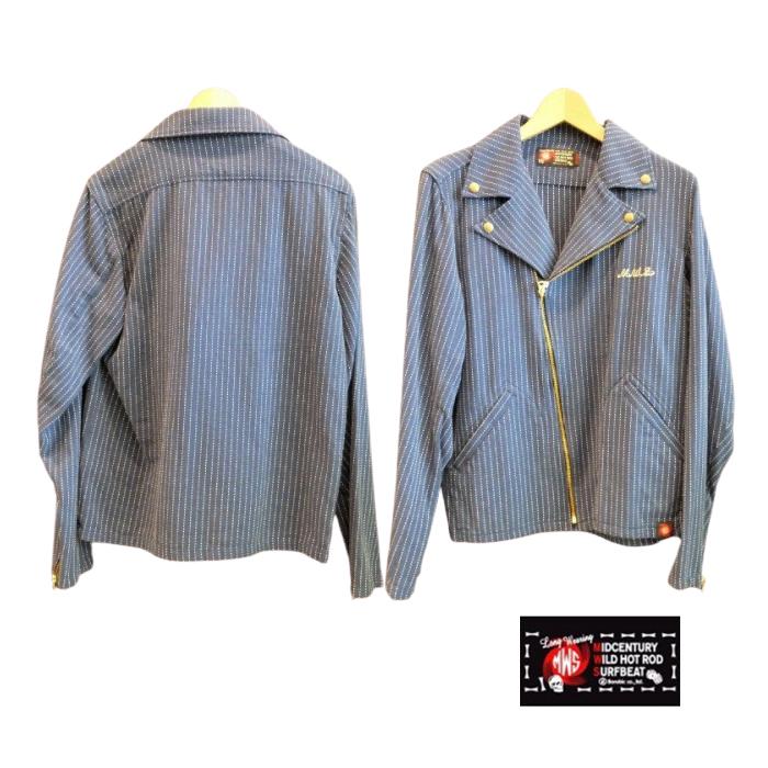 40%OFF M.W.S. 往復送料無料 インディゴステッチ ダブルライダースジャケット ライダースシャツ ライダース Mサイズ 日本製 ダブルライダース インディゴシャツ ブルー ストアー