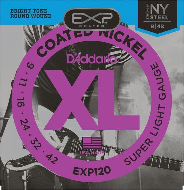 .009-.042 . DAddario EXP120x3 Nick Rnd Wnd 3 sets Coated Super Light,
