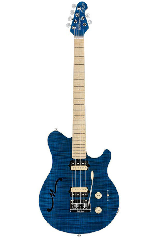 MUSICMAN Axis Super Sport Semi-Hollow Body HH trem Maple Fingerboard,Matching Headstock (Translucent Blue)【送料無料】【受注生産品】【ONLINE STORE】